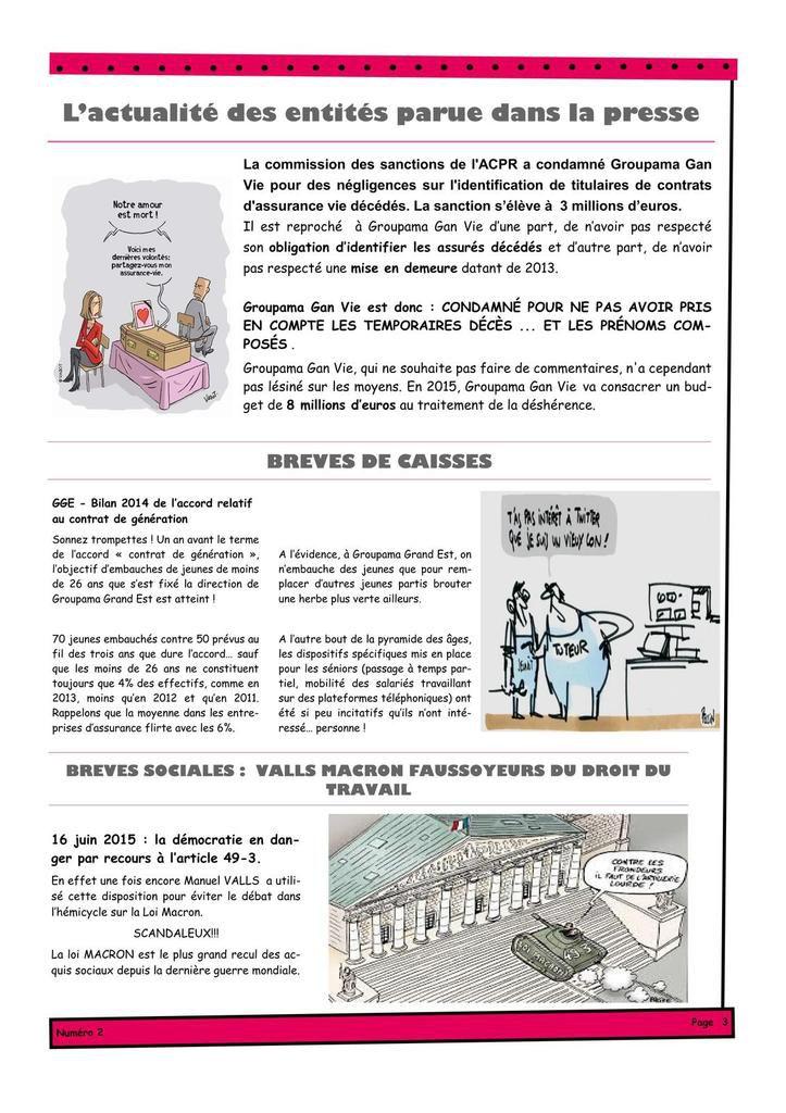 Journal : Actu groupe, négos, brèves caisses, juridique, indemnités rupture, fable : la mutuelle et ses salariés