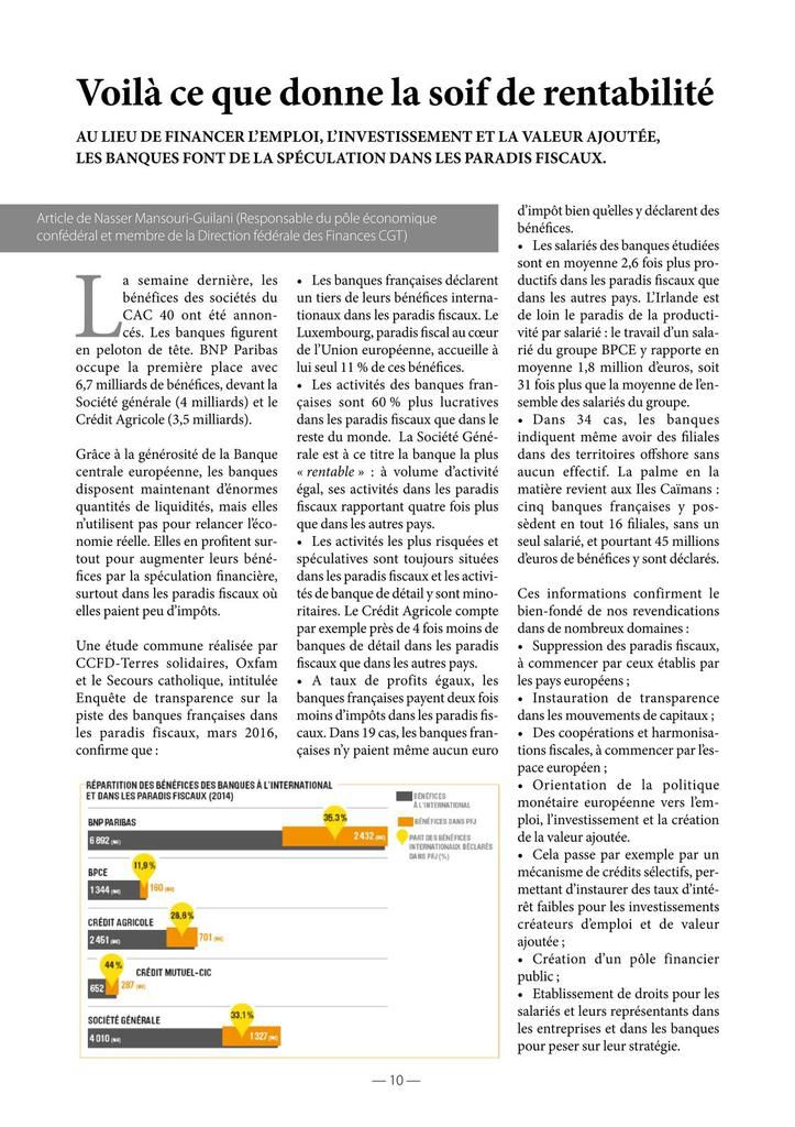 Dossier CGT évasion fiscale mai 2016