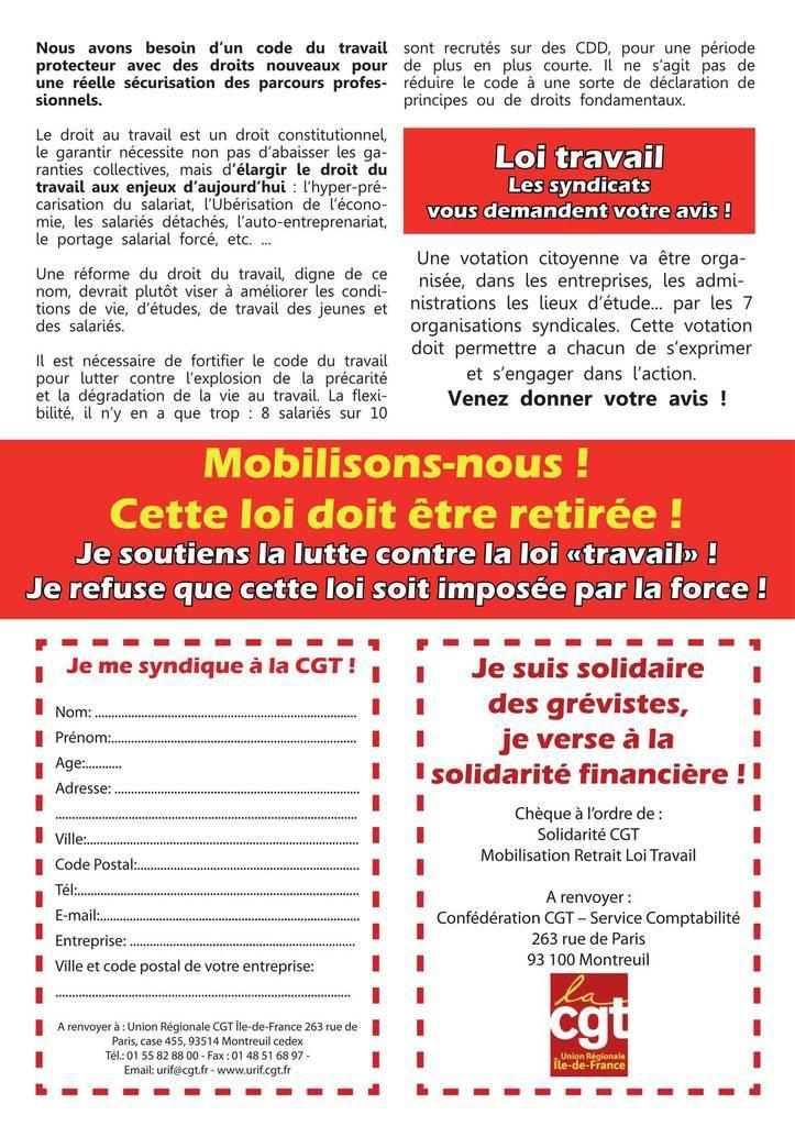 Mardi 14 juin - Manifestation nationale contre la loi travail à PARIS - 13 h place d'Italie - TOUS ENSEMBLE !!!