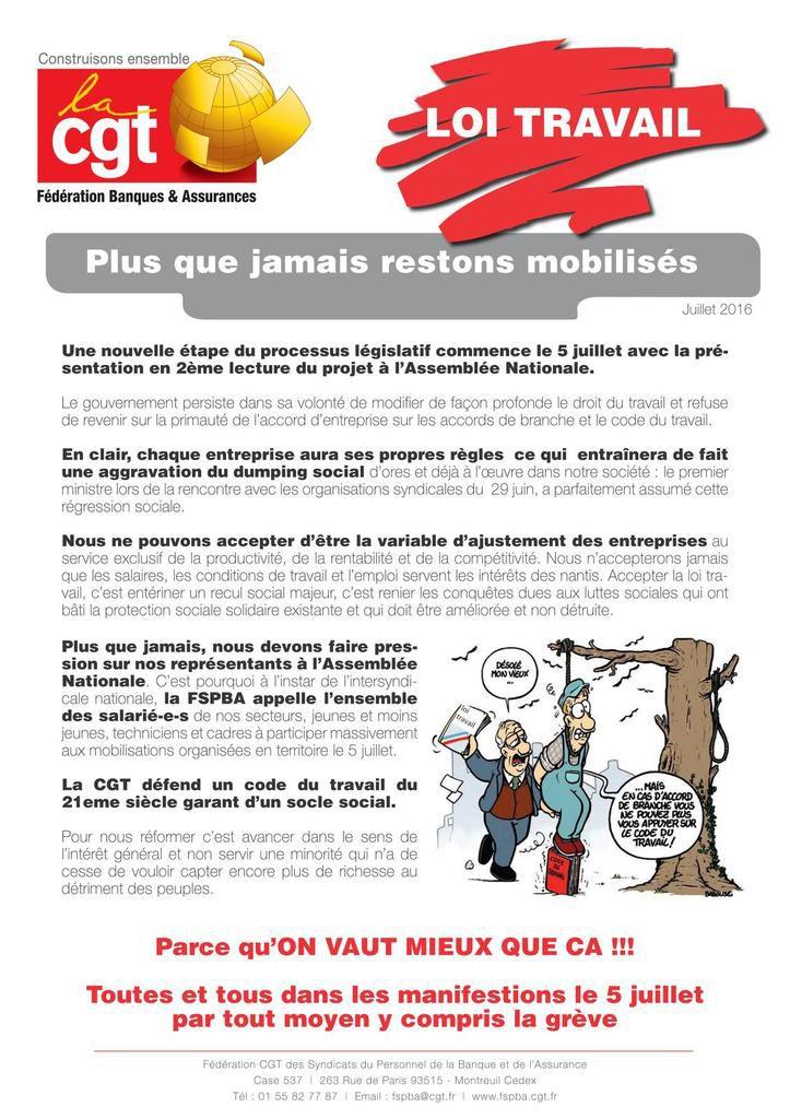 [Loi travail] Plus que jamais restons mobilisés le 5 juillet !! Et de nouveau nombreux dans la rue !!
