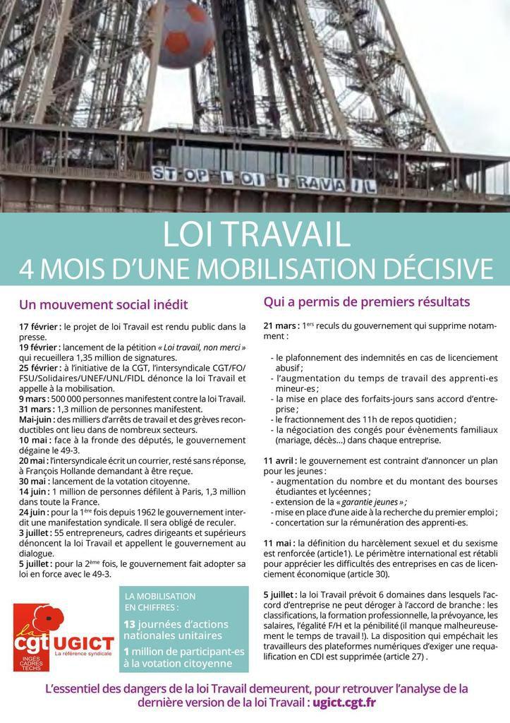 Loi travail : après 4 mois d'une mobilisation décisive, la bataille se poursuit le jeudi 15 septembre !!