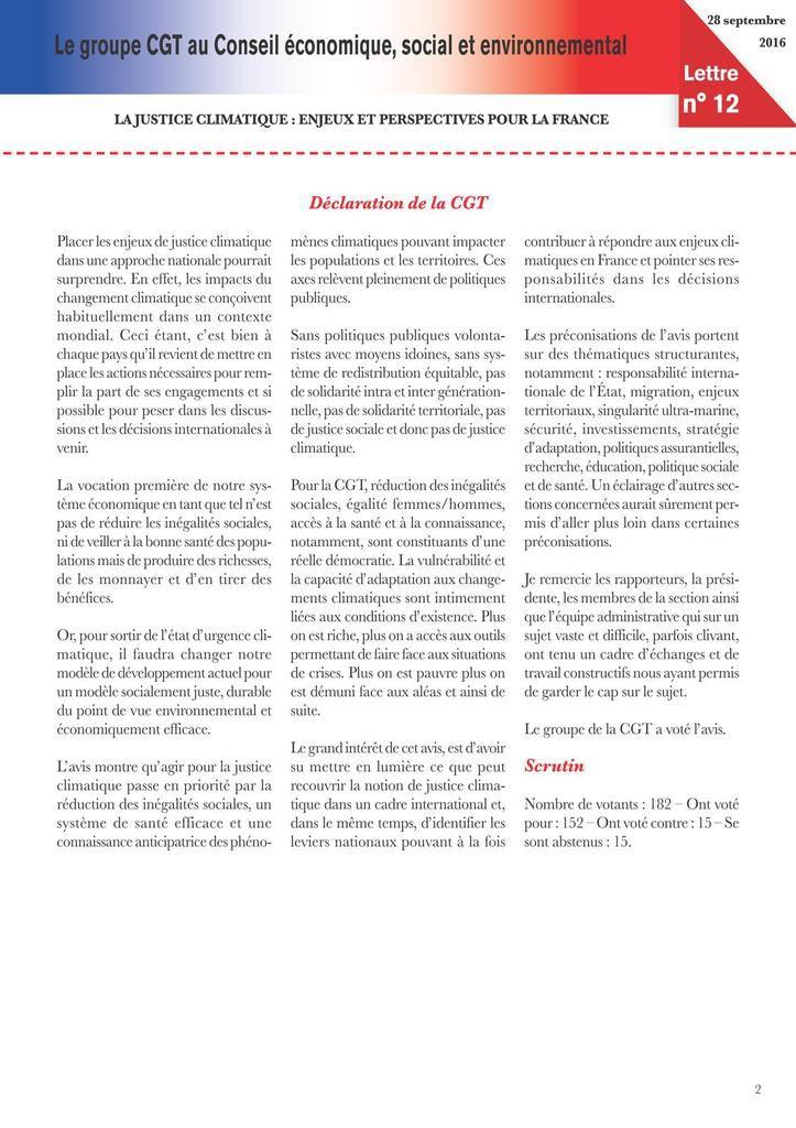 Lettre du groupe CGT au CESE - 24 avril 2017