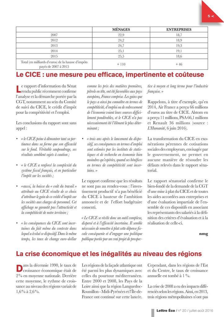 Lettre économique CGT mars 2017