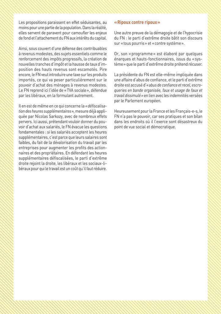 FN : des promesses fondamentalement patronales - Mensonges et mesures antisociales !!