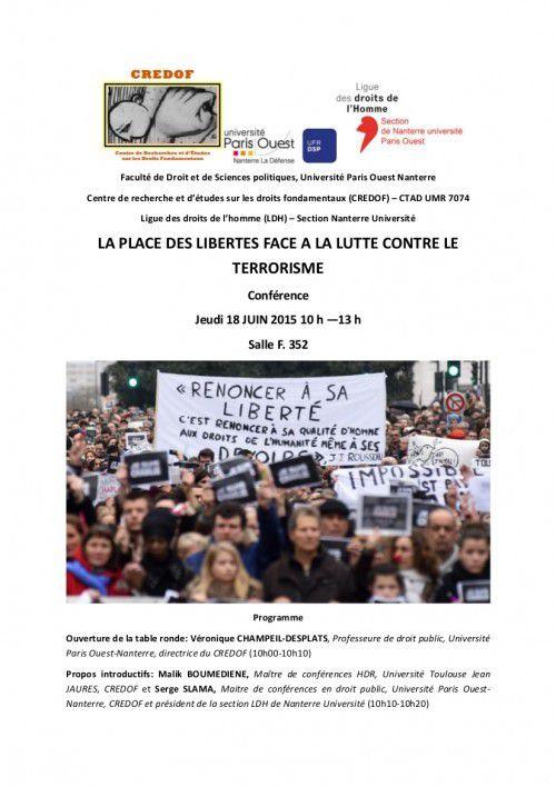 La place des libertés face à la lutte contre le terrorisme (Conférence CREDOF-LDH Nanterre Univ, 18 juin 2015)