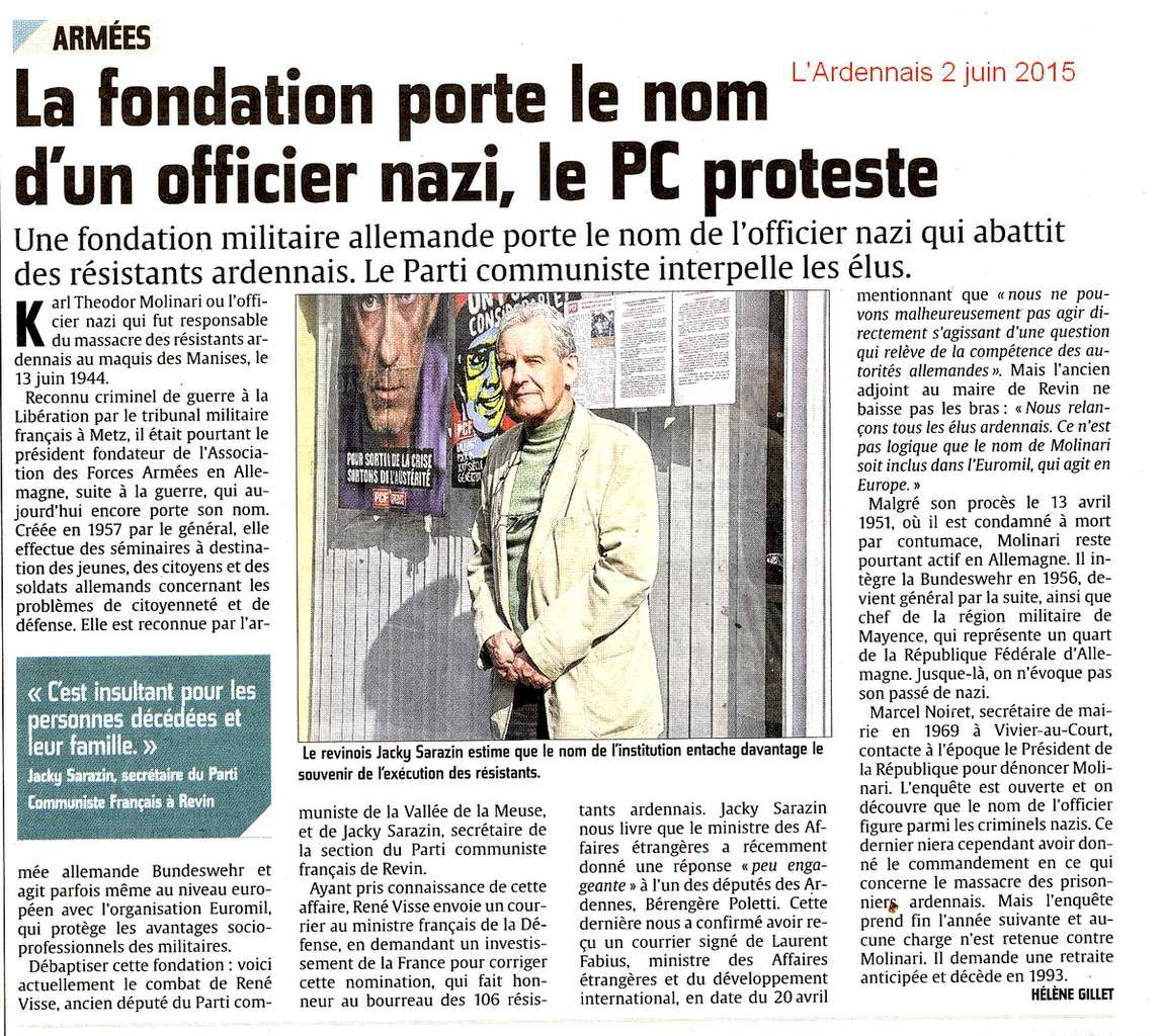 La fondation porte le nom d'un officier nazi, le PC proteste