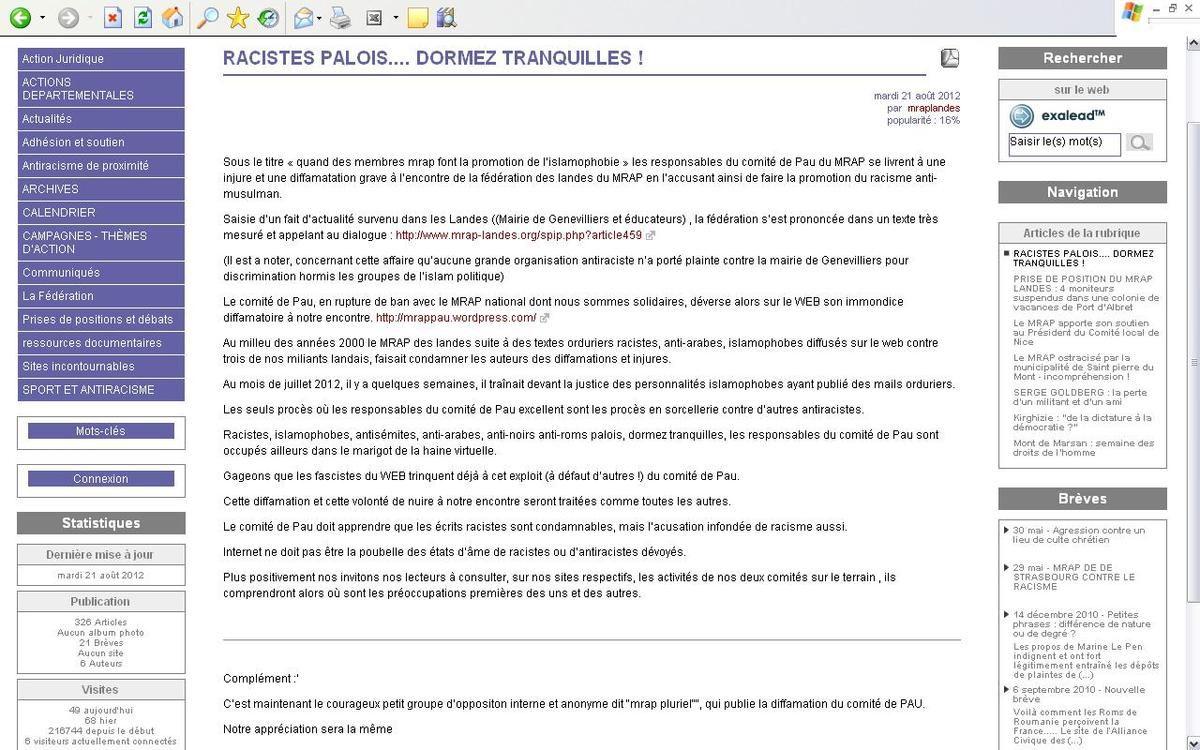 Article du 21 août 2012 : Racistes palois, dormez tranquilles !! (n'est plus en ligne).
