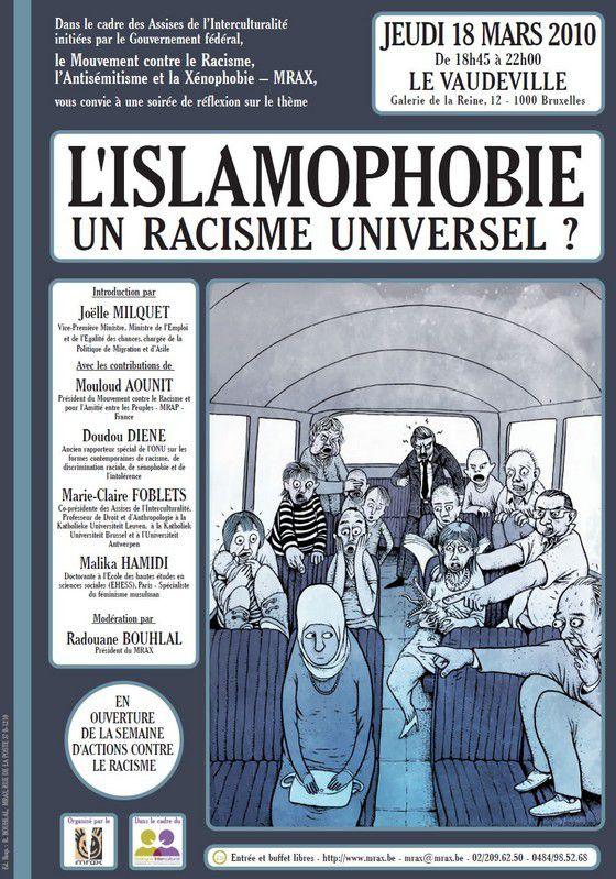 Affiche du MRAX (Belgique) dénonçant l'islamophobie en 2010