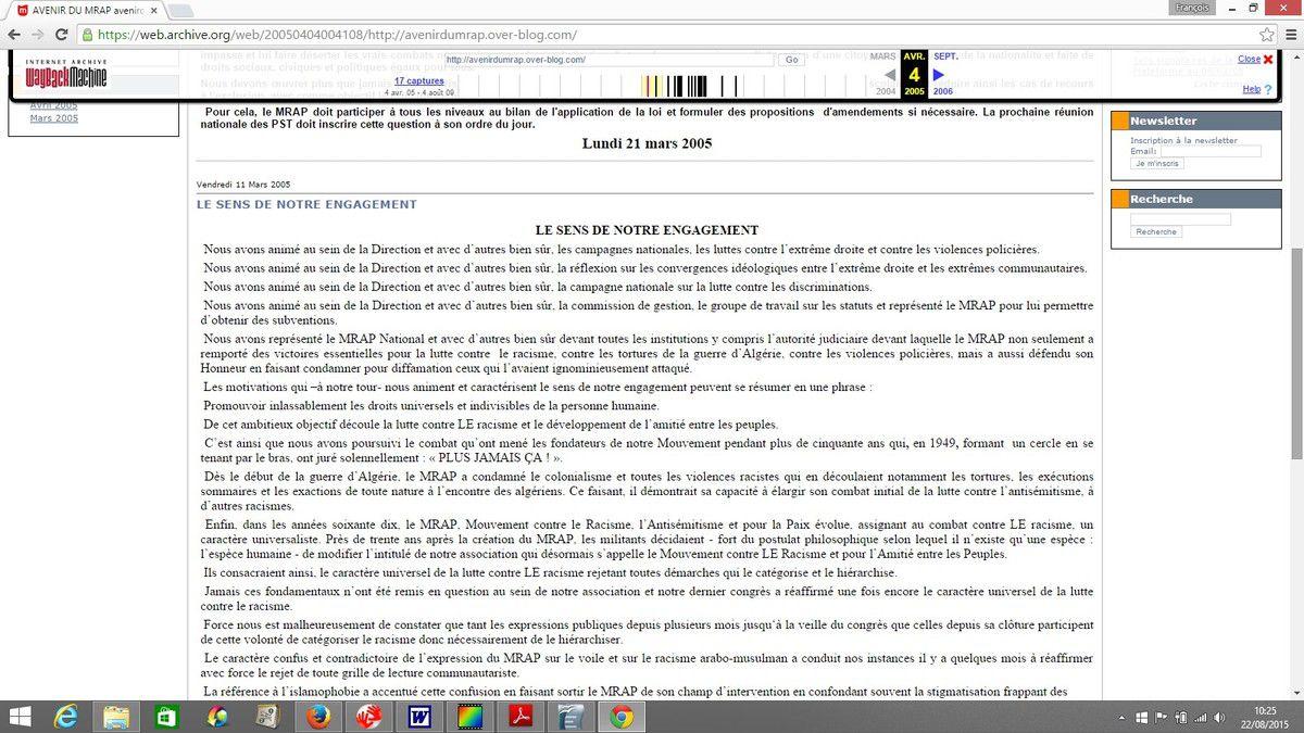 """2004 : """"Avenir du MRAP"""". Textes de l'opposition d'alors."""