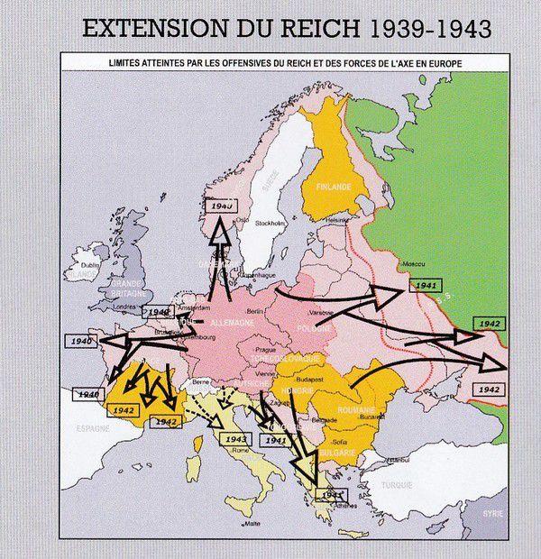Limites atteintes par les offensives du Reich et des forces de l'axe en Europe
