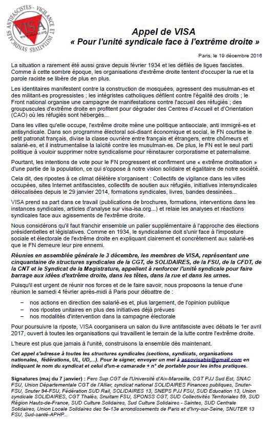 Appel de VISA « Pour l'unité syndicale face à l'extrême droite » - signatures au 7/01/17