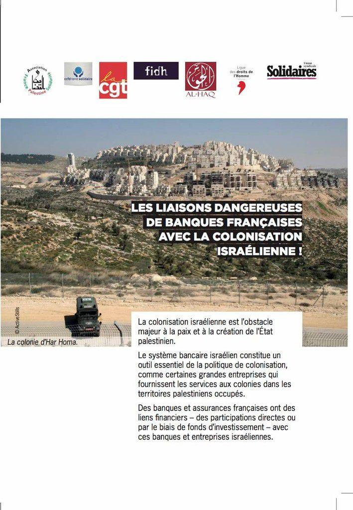 Non aux liaisons dangereuses de banques françaises avec la colonisation israélienne !
