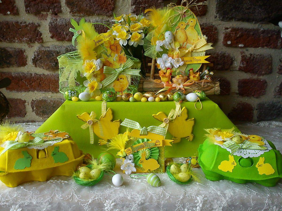 Ensemble très printanier de petites créations de Pâques par Athéna
