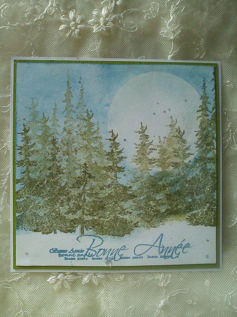 Nouvelles séries de cartes de Voeux tampons sapins Tim Holtz et 3 cartes C&amp&#x3B;S