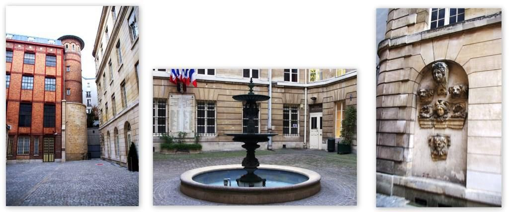 La cour du Crédit Municipal de Paris. A remarquer sur l'image de gauche : un reste de l'enceinte Philippe Auguste. Tout-au-moins la tour inférieure ! Les deux repères au sol matérialisent le tracé de l'enceinte sur le pavé.