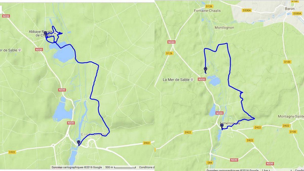 Les circuits sources GPS de Nicole et Marc : matin et après-midi de la randonnée