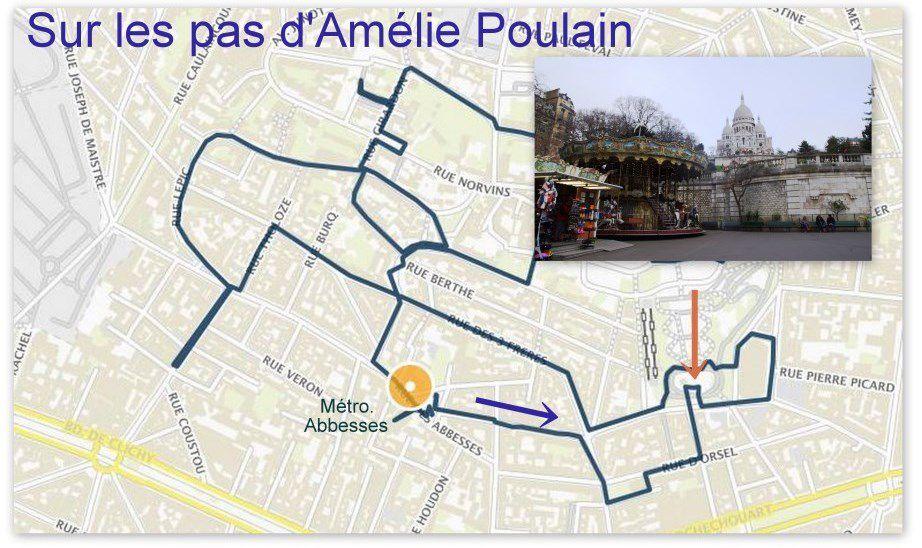 Une des premières étapes du circuit Amélie : le manège en bas de la basilique de Montmartre