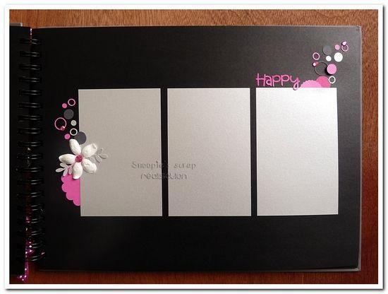 Livre d'or Aurélie &amp&#x3B; Gaël : Fushia, blanc, argenté et anthracite. Thème bulles &amp&#x3B; fleurs