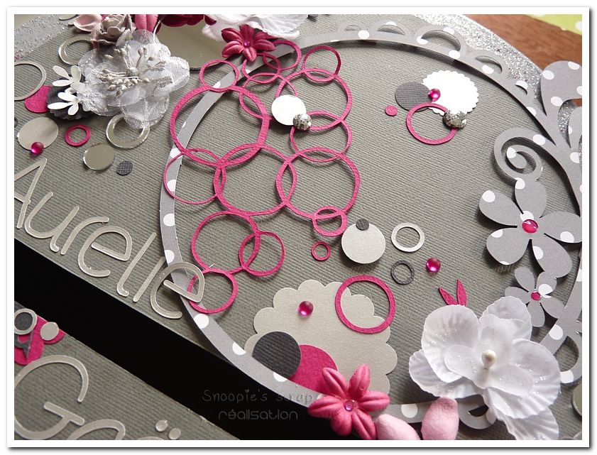 Urne Aurélie &amp&#x3B; Gaël : bulles &amp&#x3B; fleurs - fuschia, gris argent, anthracite &amp&#x3B; blanc.