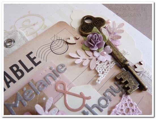Livre d'or Mélanie &amp&#x3B; Anthony - vintage &amp&#x3B; romantique - rose, parme &amp&#x3B; ivoire