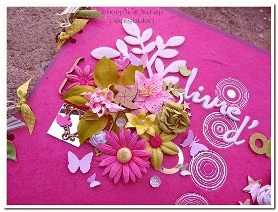 Livre d'or Déborah &amp&#x3B; Lionel - rose, fuchsia, blanc &amp&#x3B; vert anis - printemps &amp&#x3B; fleurs