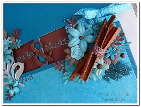 Livre d'or Jennifer &amp&#x3B; Nicolas - exotique - turquoise &amp&#x3B; chocolat