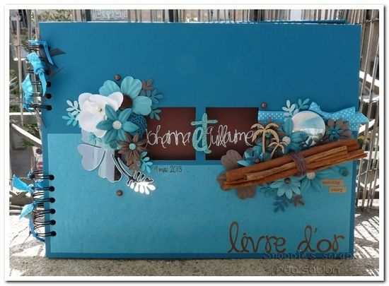 Livre d'or Johanna &amp&#x3B; Guillaume - turquoise &amp&#x3B; chocolat - exotique