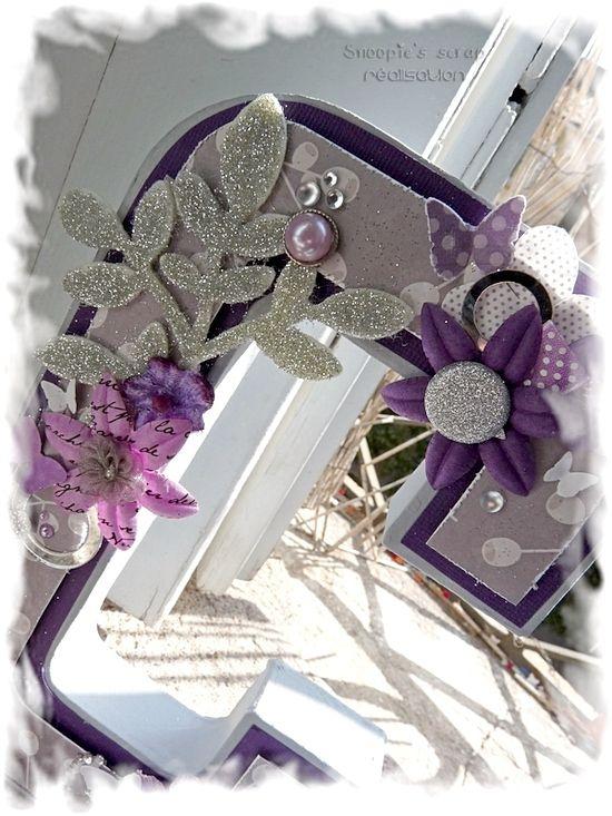 Initiales Cécile &amp&#x3B; Anousith - parme, violet, argent &amp&#x3B; blanc