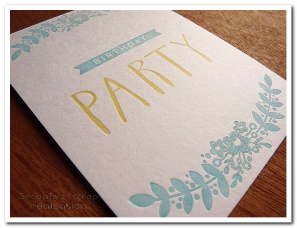 Carte Birthday party - invitation anniversaire - Letterpress