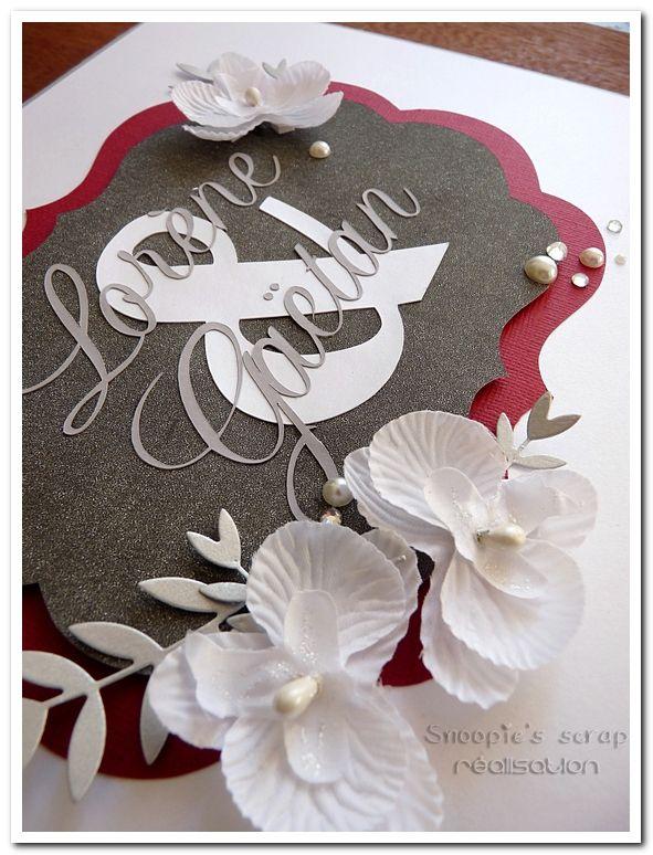 Livre d'or Lorène &amp&#x3B; Gaëtan - Blanc, gris, bordeaux (rouge foncé) - orchidées blanches