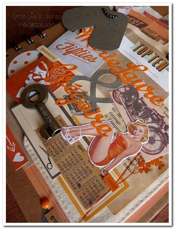Livre d'or Marie-Laure &amp&#x3B; Grégoire - années 50 rétro - orange &amp&#x3B; gris