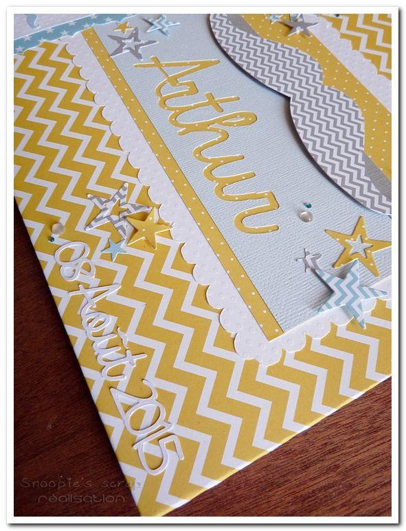 livre d'or - Baptême Arthur - jaune et bleu pastels &amp&#x3B; blanc - moustache