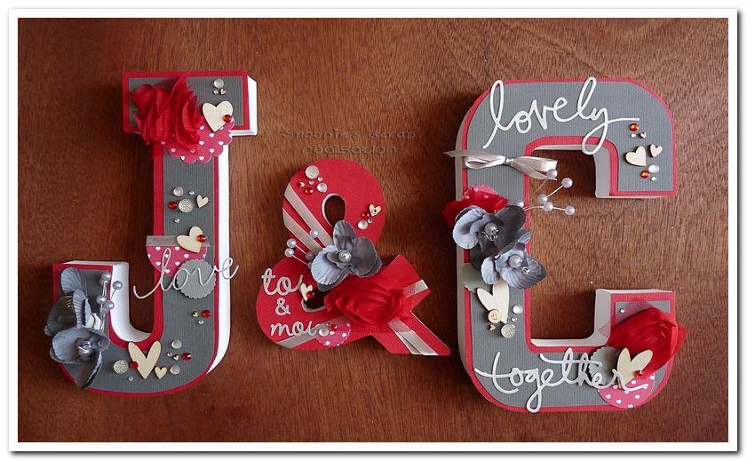 Initiales J &amp&#x3B; C - Justine &amp&#x3B; Cédric - mots d'amour - gris &amp&#x3B; rouge