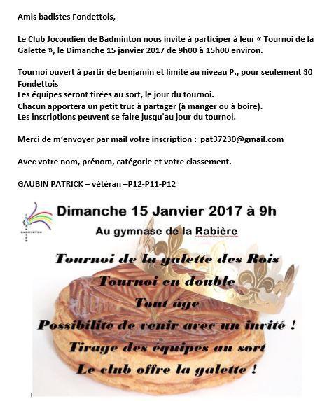 Invitation : Tournoi de la Galette de Joué les Tours