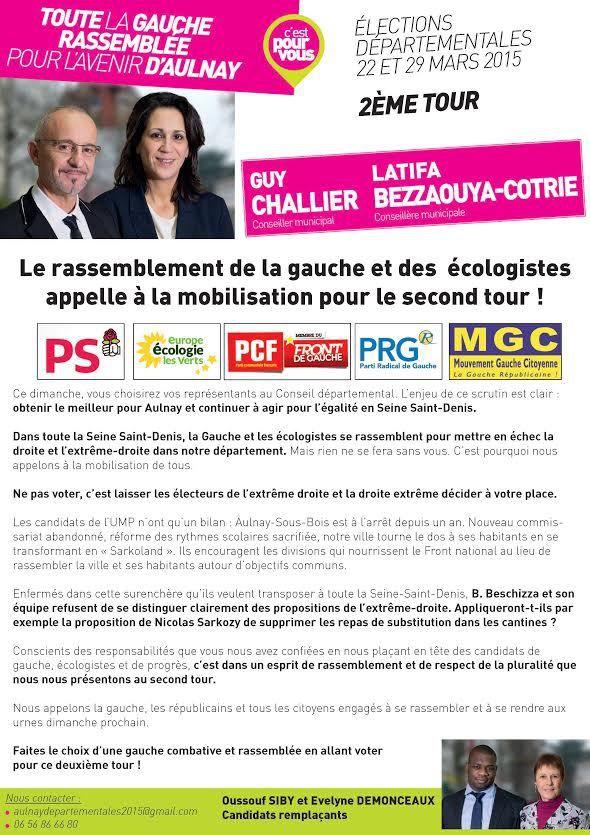 Ce dimanche, sans hésitation, votons pour Guy Challier et Latifa Bezzaouya-Cotrie