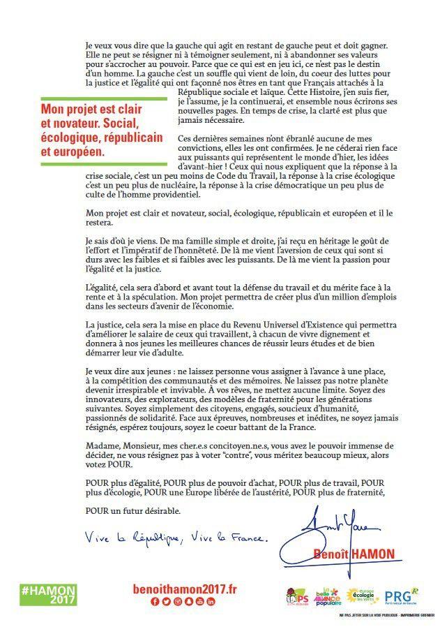 #Hamon2017 : la Lettre aux Françaises et aux Français