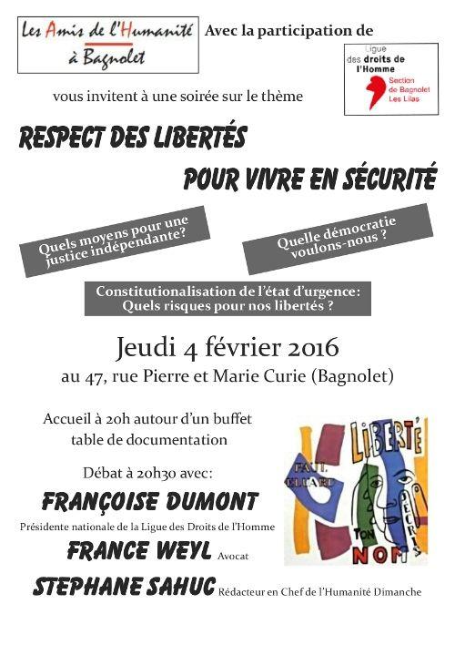 Respect des libertés pour vivre en sécurité -  débat jeudi 4 février