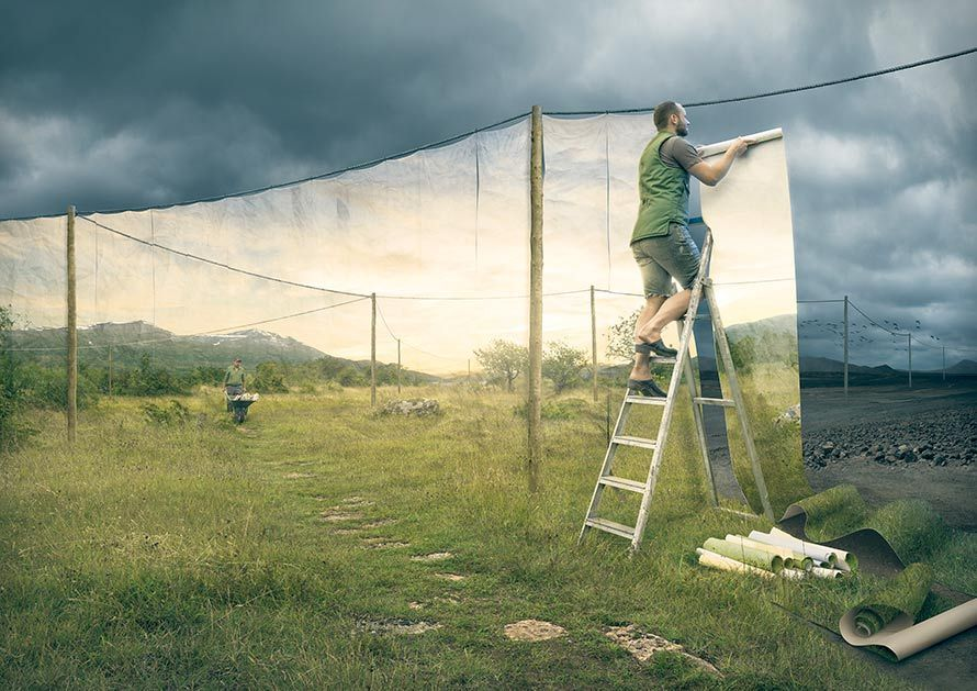 Erik Johansson. — « The Cover up » (La Dissimulation), 2013 erikjohanssonphoto.com