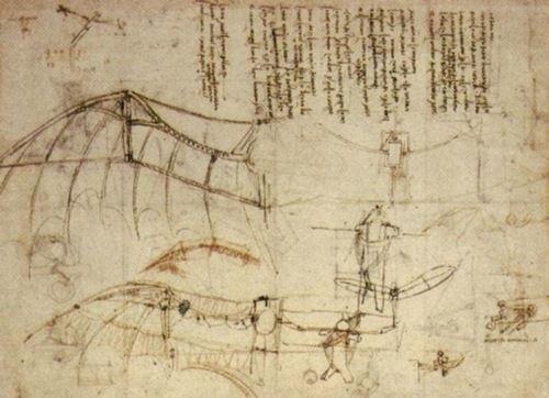 Dessin : Machine volante à ailes battantes. Plume et encre sur papier. Extrait du Codex Atlanticus f.858r