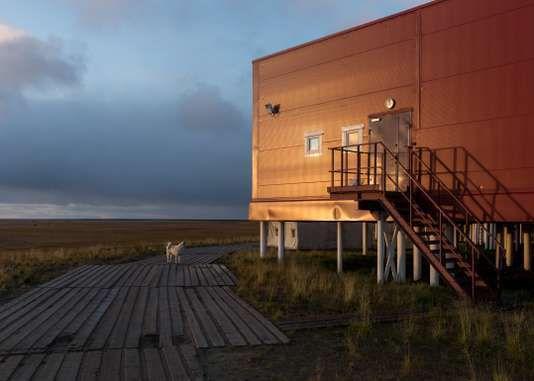 Le bâtiment principal de la base de recherche russe, sur l'île de Samoïlov, en septembre. PAOLO VERZONE / AGENCE VU POUR LE MONDE