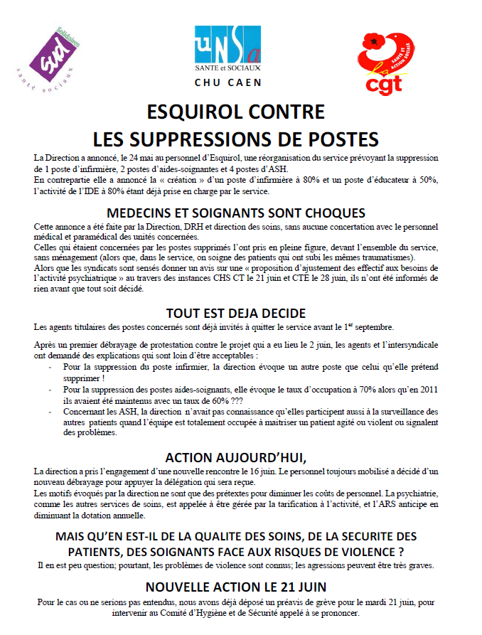 Esquirol contre les suppressions de postes