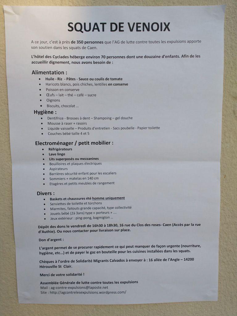 Soirée de soutien aux migrants Squat Venoix du 16 juin 2017