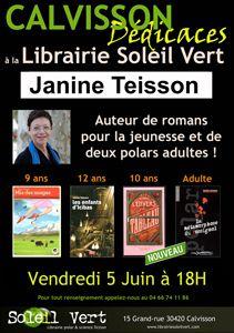 Prochaine rencontre avec Janine Teisson - Vendredi 5 juin à 18h