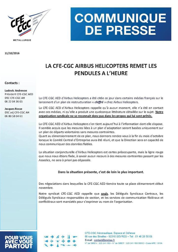 LA CFE-CGC AIRBUS HELICOPTERS REMET LES PENDULES A L'HEURE