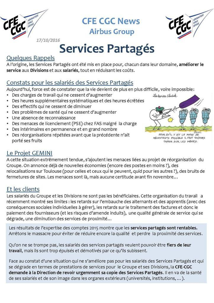 AIRBUS GROUP : SERVICES PARTAGES