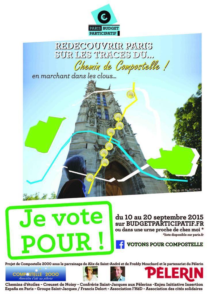 Affichette du Budget Participatif Compostelle à Paris