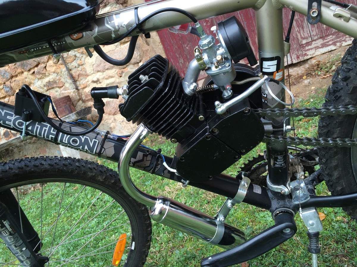 vélo vtt moteur thermique 80cc montage