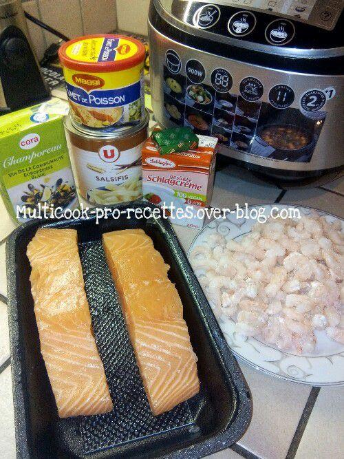 Ingrédients saumon crevettes et riz safrané