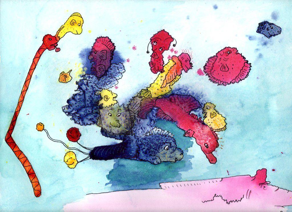 """""""Mes poissons"""": encres, feutre noir, marqueurs gel, aquarelle&#x3B; format: 24X32 cm"""