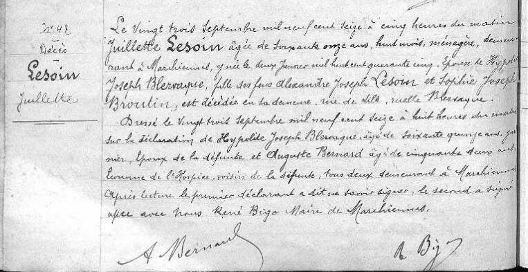Acte de décès de Juliette Lesoin épouse Blervaque le 23/09/1916